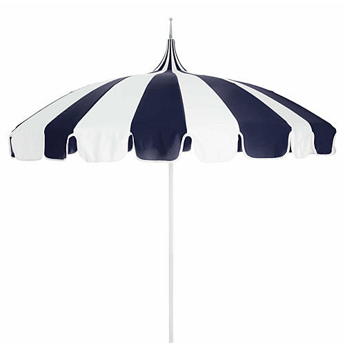 Pagoda Patio Umbrella, Navy/White