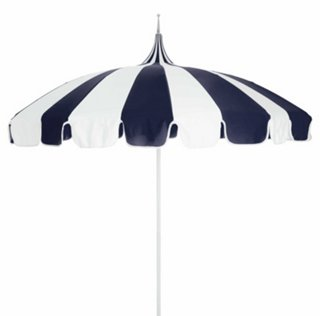 Pagoda Patio Umbrella, Navy/White   Poolside Style   Outdoor Essentials    Outdoor | One Kings Lane