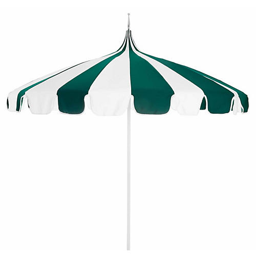 Pagoda Patio Umbrella, Green/White