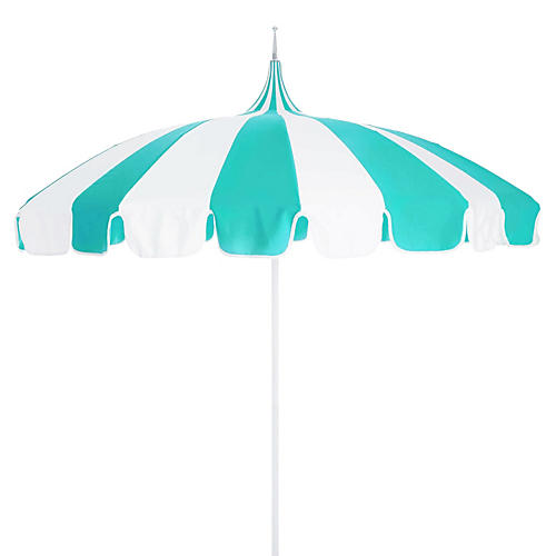 Pagoda Patio Umbrella, Aruba/White