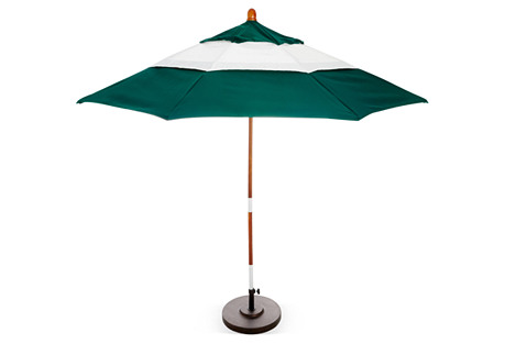 Color-Block Patio Umbrella, Green