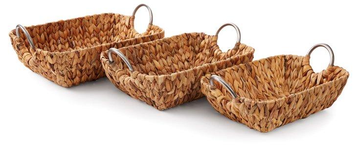 Asst of 3 Baskets w/ Metal Handles