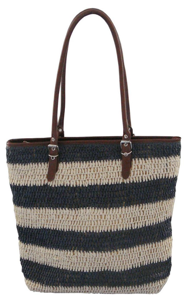 Large Striped Tote, Navy