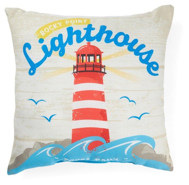 Lighthouse 18x18 Outdoor Pillow, Multi