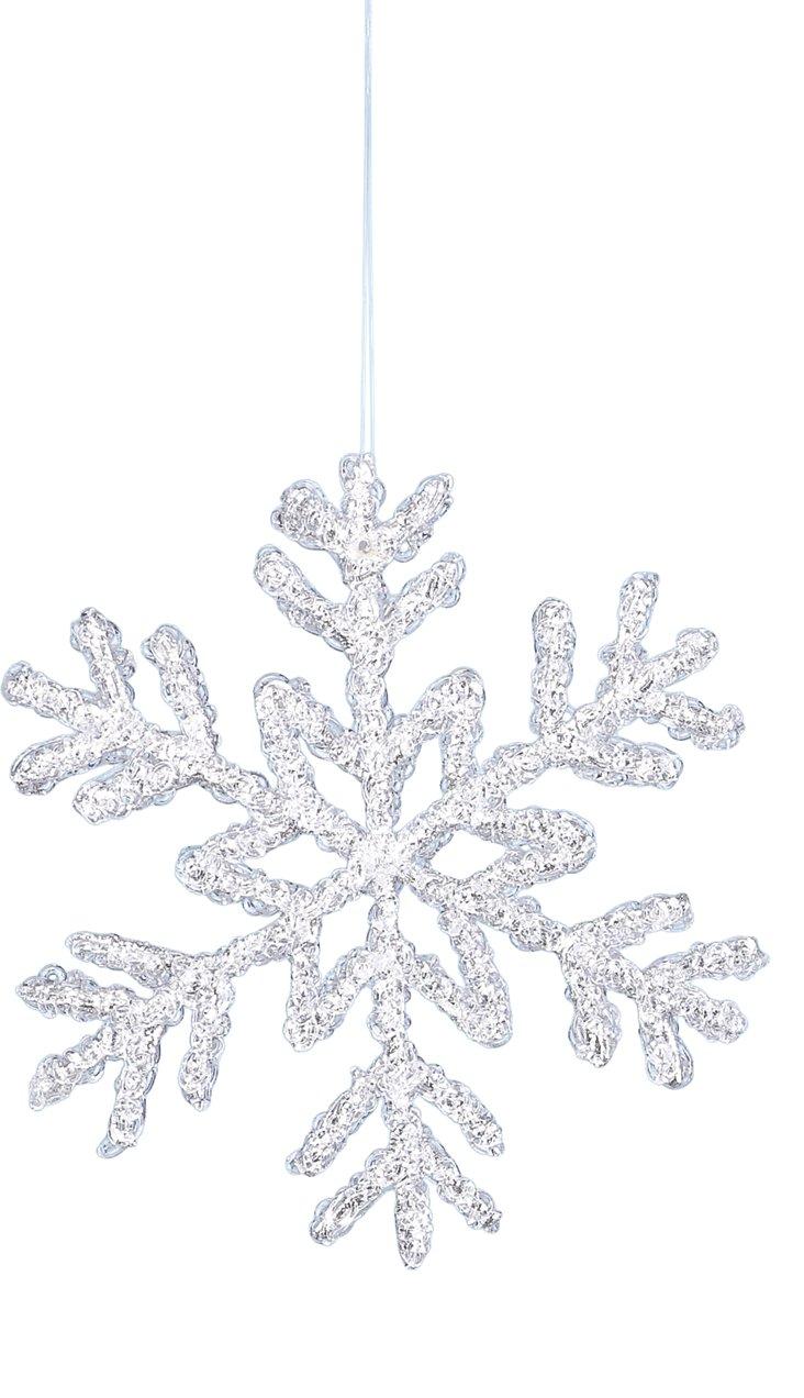 "S/2 8"" Snowflake Ornaments, Silver"