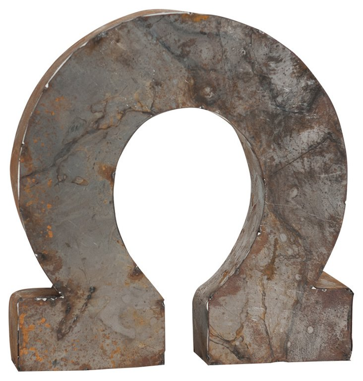 Backless Reclaimed Tin Horseshoe, Rust