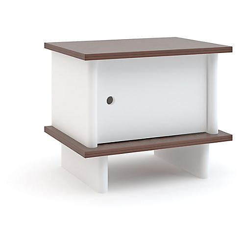 ML Nightstand, White/Walnut