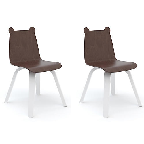 S/2 Bear Play Accent Chairs, Walnut