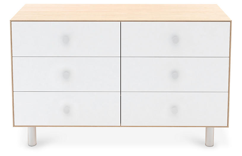 Classic 6-Drawer Dresser, White/Natural