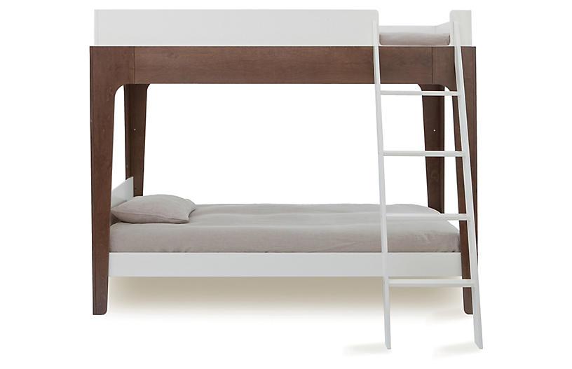 Perch Bunk Bed, White/Walnut