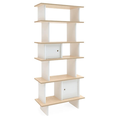 Vertical Mini Bookshelf, White/Natural