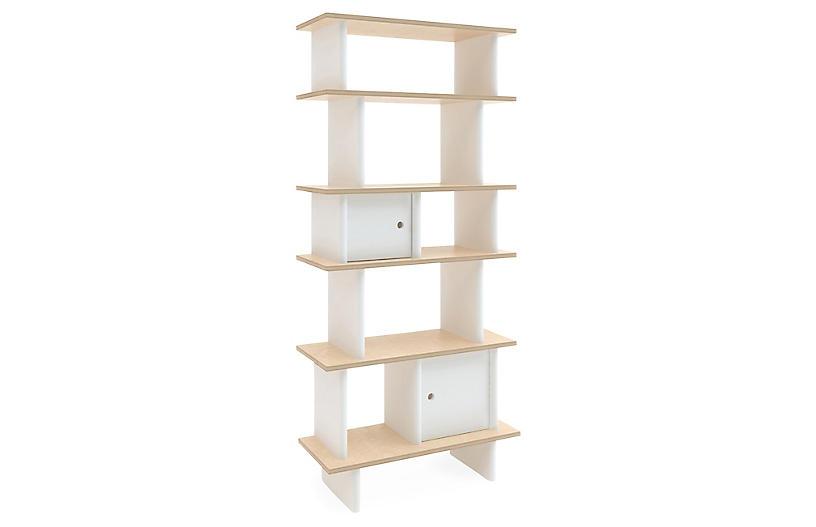 Vertical Mini Bookshelf, White/Natural