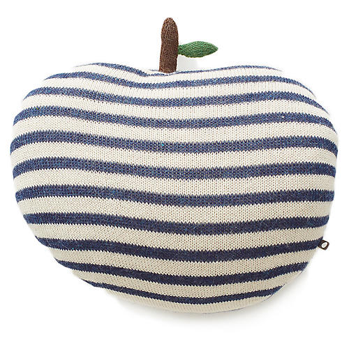 Apple Kids' Pillow, White/Indigo