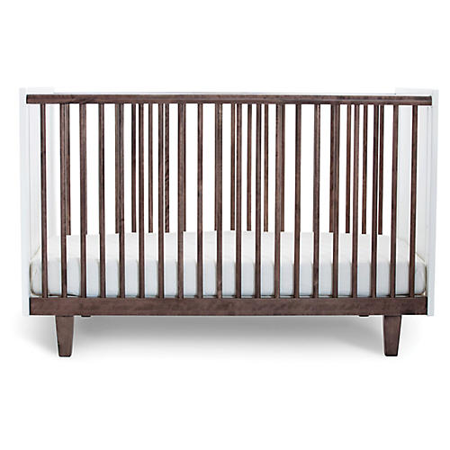 Rhea Crib, Walnut/White