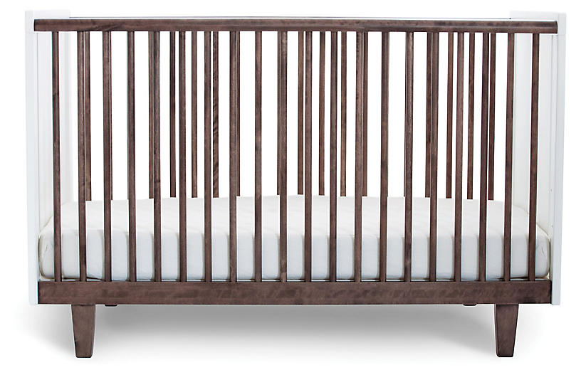 Rhea Crib, Walnut/White