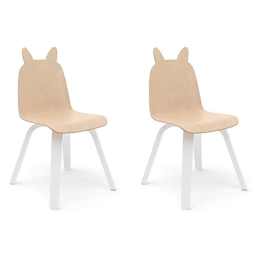 S/2 Rabbit Play Accent Chairs, Natural/White