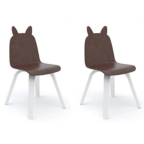 S/2 Rabbit Play Accent Chairs, Walnut/White