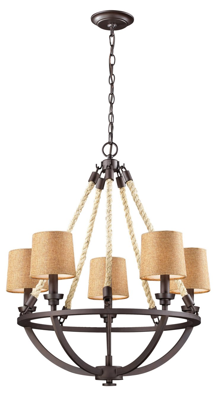 Quincy 5-Light Rope Chandelier, Bronze
