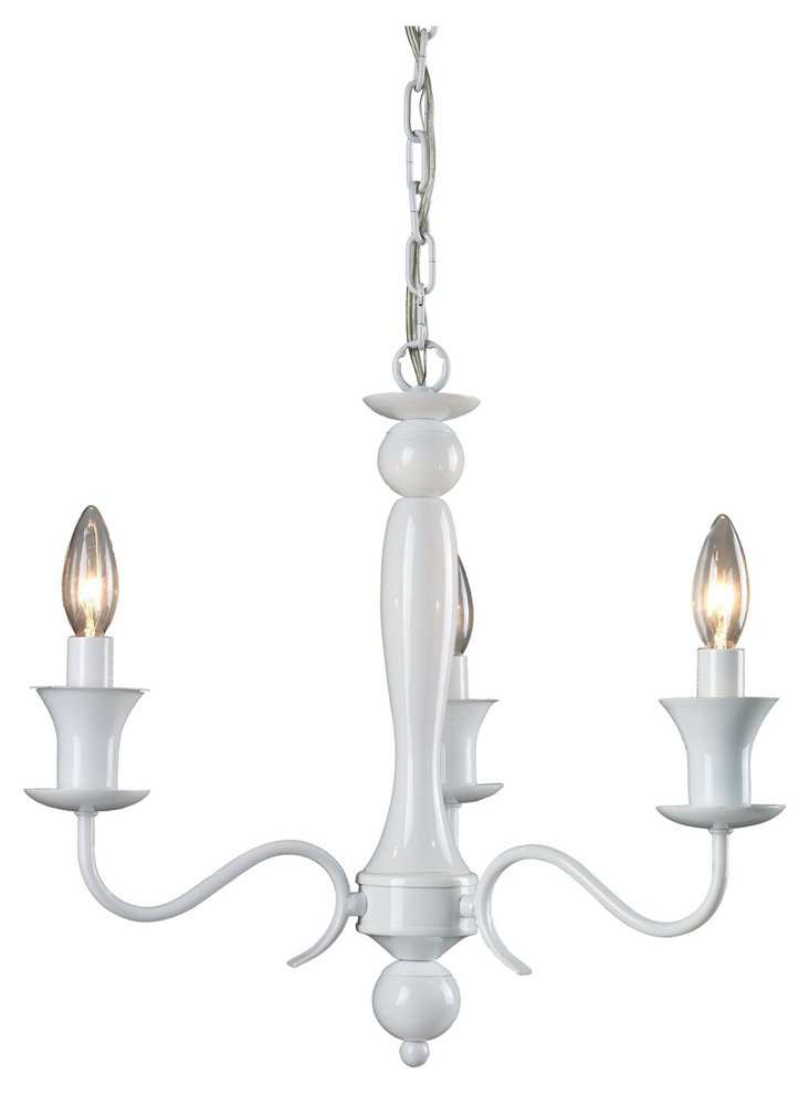 Durham 3-Light Chandelier, White