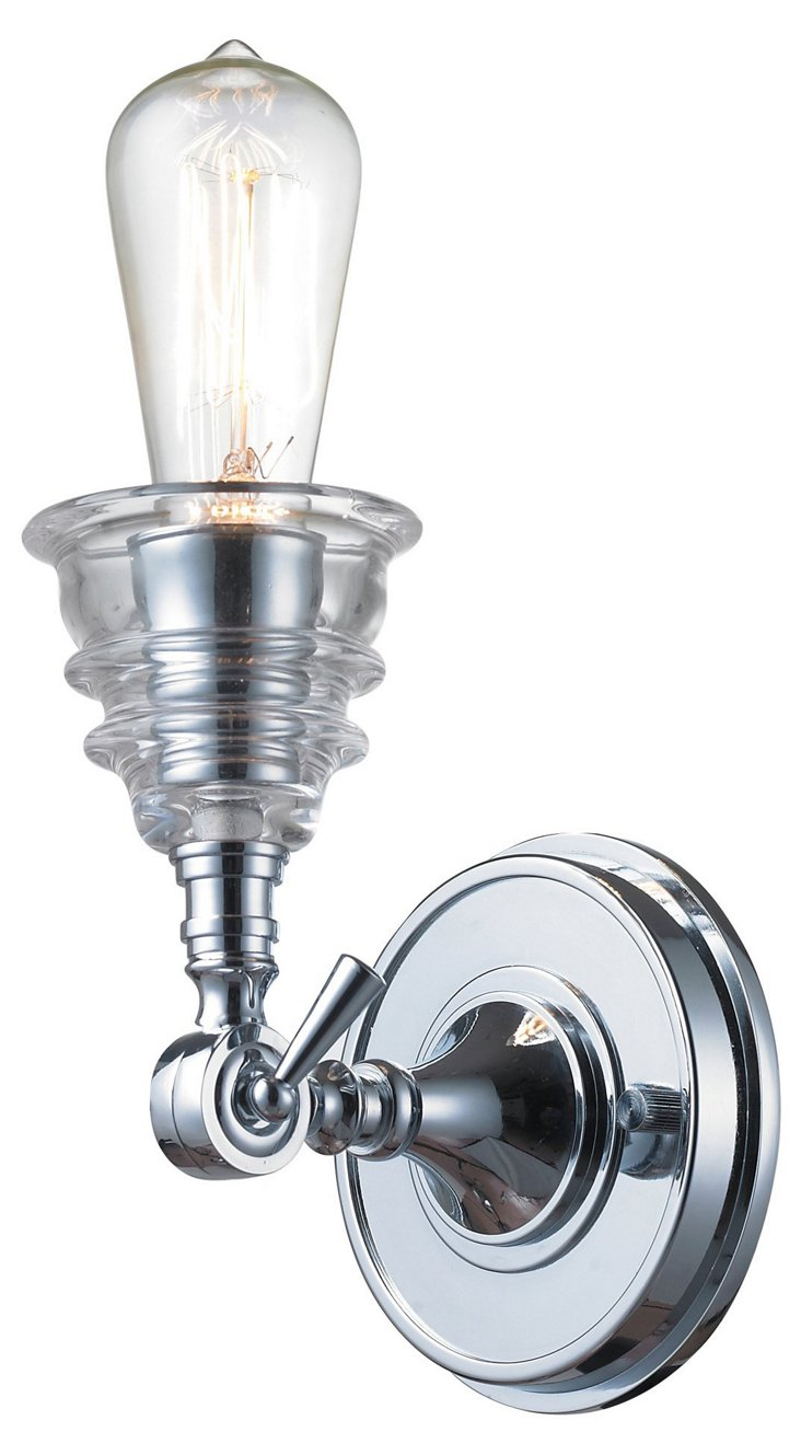Insulator Glass Wall Sconce, Chrome