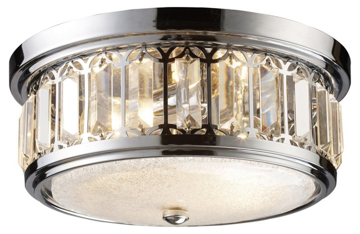 Oxford 2-Light Flush Mount, Chrome