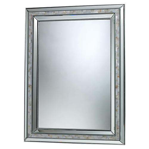 "Sardis 29""x39"" Wall Mirror, Mother-of-Pearl"