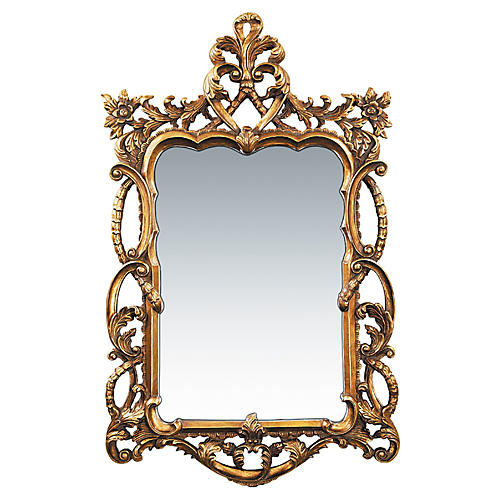 "Floral 48""x29"" Scroll Mirror, Gold"