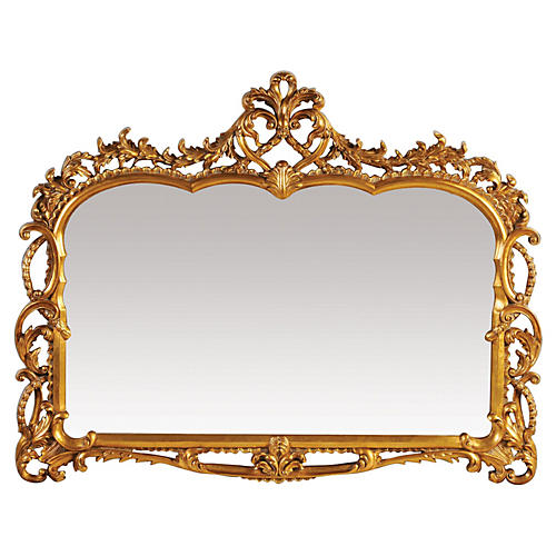 Antique Inspired Landscape Mirror, Gold