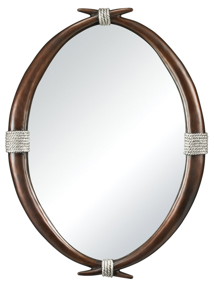 Emery Wall Mirror, Espresso/Silver