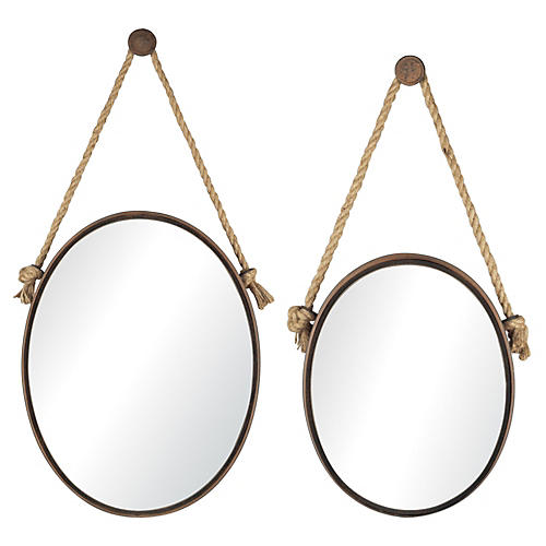 Asst. of 2 Robert Oval Wall Mirrors, Bronze