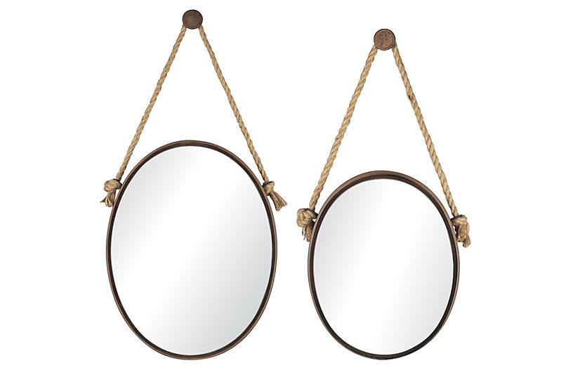 Asst. of 2 Robert Oval Wall Mirrors, Bronze