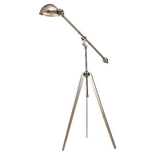 Cinematic Tripod Floor Lamp, Nickel