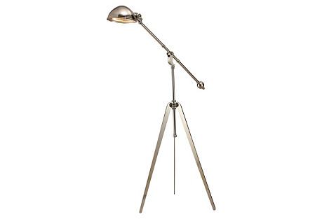 Cinematic Tripod Floor Lamp, Nickel