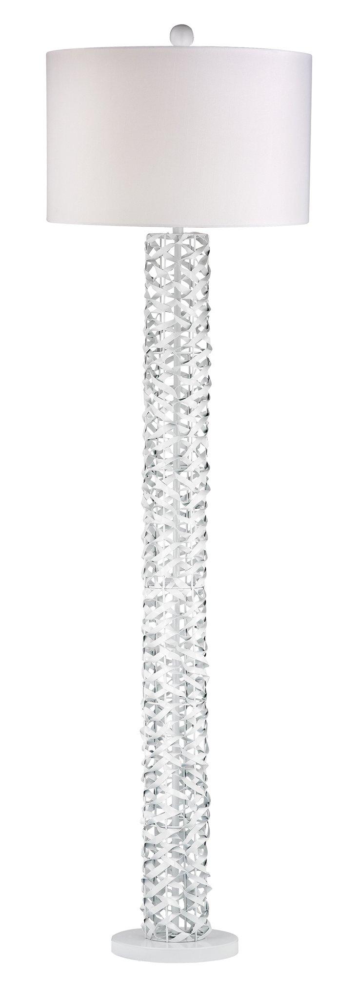 Metal Ribbon Floor Lamp, Gloss White