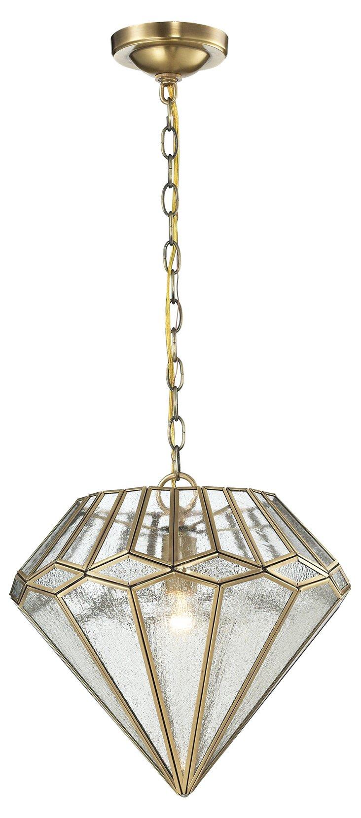 Joline 1-Light Pendant, Brushed Brass
