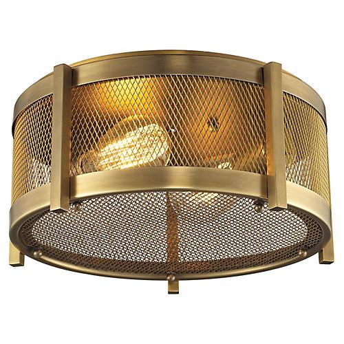 Rialto 2-Light Flush Mount, Brass