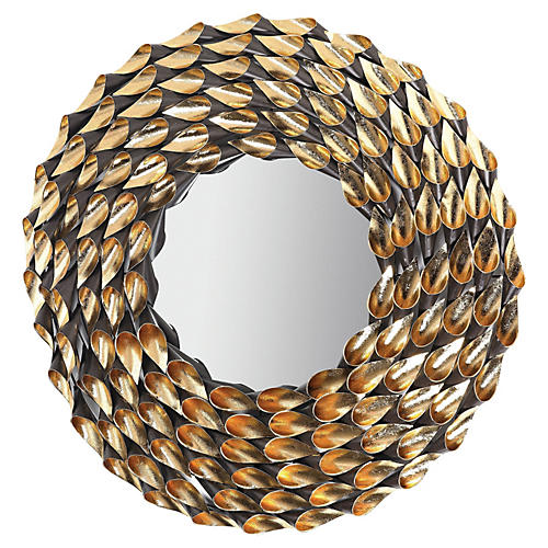 Wreathed Wall Mirror, Autumnal Gold