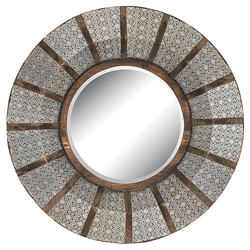 Pierced Metal Wall Mirror, Nickel