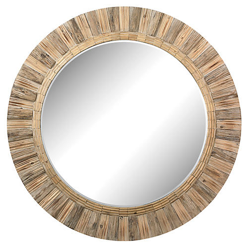 "Bevin 64"" Wall Mirror, Natural"