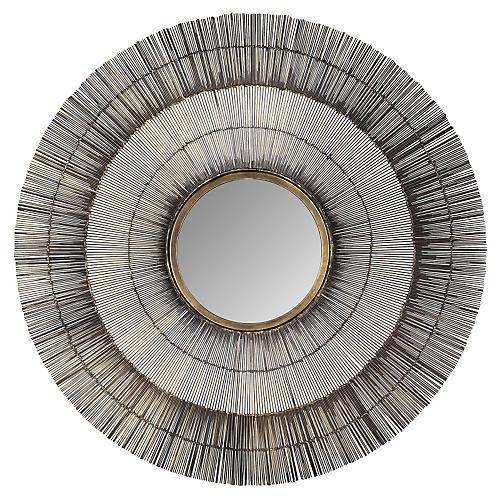 Metal Sunburst Mirror, Bronze