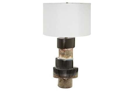 Stacked Table Lamp, Black Drip