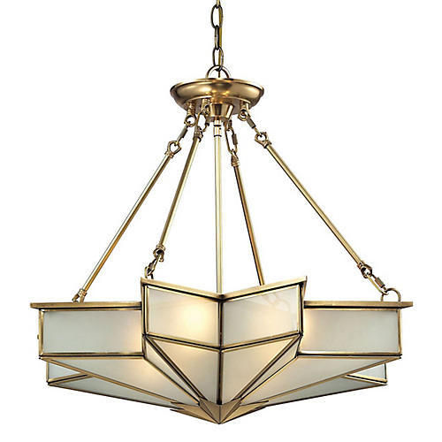 4-Light Decostar Pendant, Brass