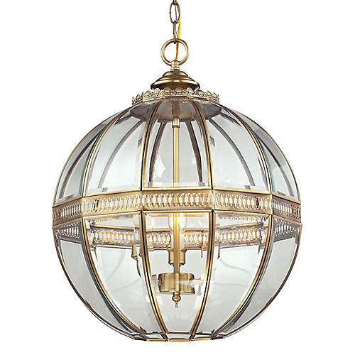 Thea 3-Light Globe Pendant, Brass