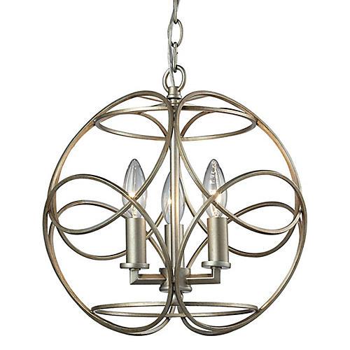 3-Light Pendant, Aged Silver