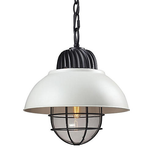 1-Light Pendant, White