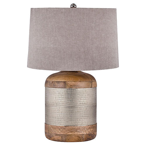 Drum Table Lamp, Silver