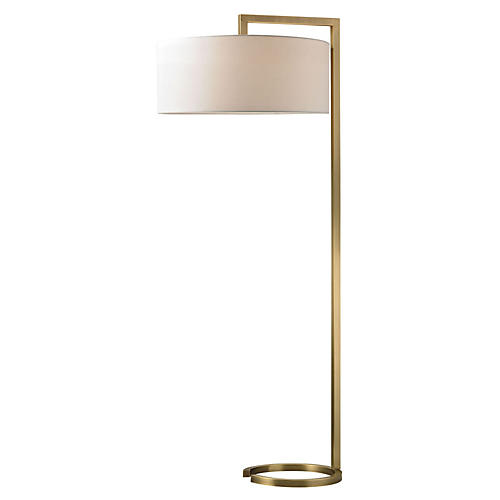 Ring Floor Lamp, Antiqued Brass