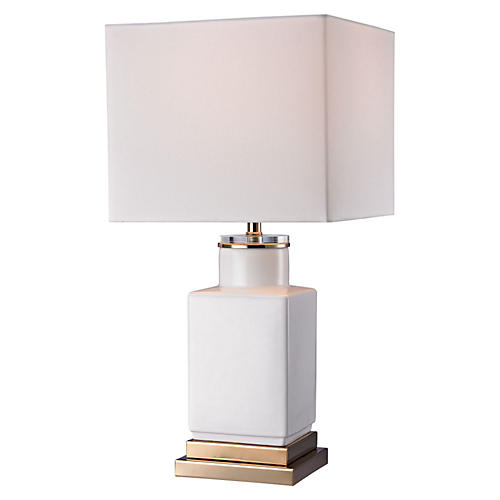 Brenna Cube Table Lamp, White