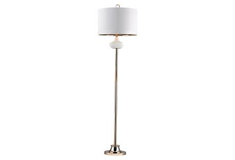 Brenna Cube Floor Lamp, White