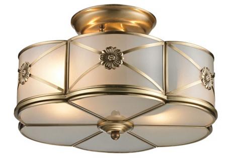 Preston 2-Light Semi Flush, Brass